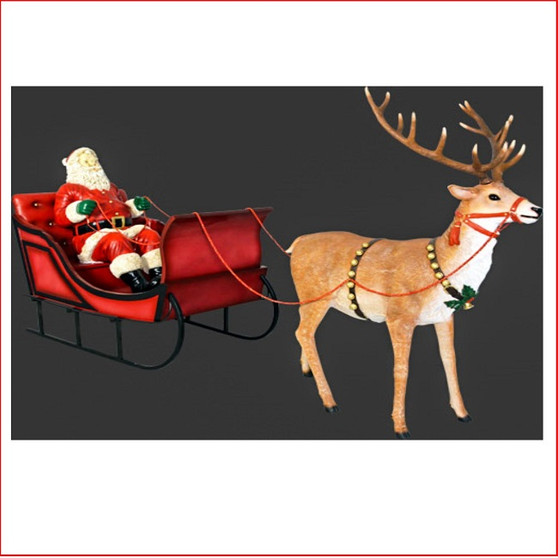 Poly-resin Santa in Sleigh with Reindeer, a complete scene where there is no more to do in your Christmas display, Santa in sleigh with reindeer. Definately great to have at an event or Christmas party as the kids and adults will enjoy the Christmas cheer that comes from this beautiful poly-resin products. Very popular for shopping centres where plenty of photos are taken for memories. Large Christmas decor at its best very long and fills a large area of your Christmas display.
