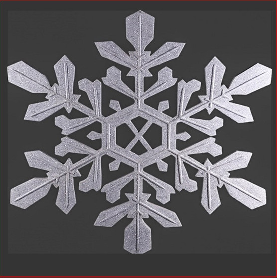 The Polyresin Silver Snowflake is great for a hanging decoration from the ceiling in shopping centres, foyers or your Christmas display. The Silver Snowflake can hang from any ceiling, be aware the height is 102cm. Can't have Christmas without a snowflake.