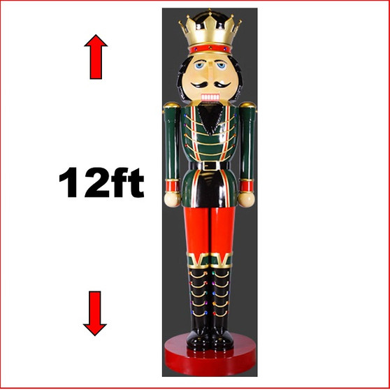 The Poly-resin Nutcracker 12ft statue is an imposing impressive piece. He looks great in your Christmas display with Christmas Trees, Santa Throne, Candy Cane or by himself creates a one man display. The Nutcracker 12ft with is seen in many shopping centres and corporate window Christmas display due to his impressive appearance.