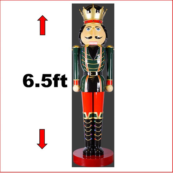 The Poly-resin King Nutcracker 6.5ft is a beautiful majestic Nutcracker - the King of all Nutcrackers. The poly-resin statue with extensive detail looks great in your Christmas display with Christmas Trees, Santa Throne, Candy Cane or you may just need two of them to keep guard of your Christmas display.
