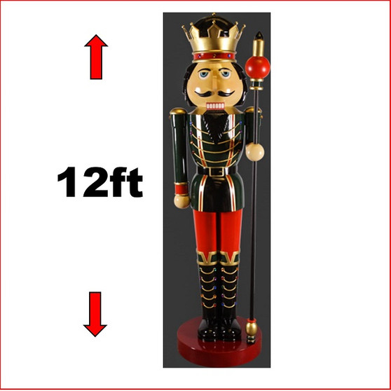 The Poly-resin Nutcracker 12ft with Sceptre Left Hand statue is an imposing impressive piece. He looks great in your Christmas display with Christmas Trees, Santa Throne, Candy Cane or by himself creates a one man display. The Nutcracker 12ft with Sceptre Left Hand is seen in many shopping centres and corporate window Christmas display due to his impressive appearance.