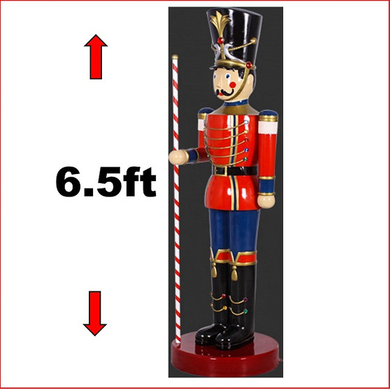 The Polyresin Toy Soldier with Baton 6.5ft statue with extensitive detail and striking looks. He looks great in your christmas display with Christmas Trees, Santa Throne, Candy Cane or you may just need two of them to keep guard of your Christmas display. The Toy Soldier with Baton 6.5ft is seen in many shopping centres and corporate window Christmas display due to his impressive appearance.