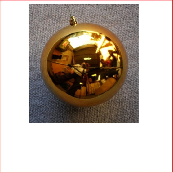 100mm Christmas Bauble - Gold - Wired Glossy