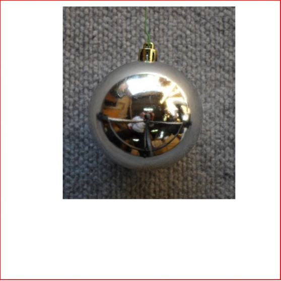 150mm Christmas Bauble - Silver - Wired Glossy