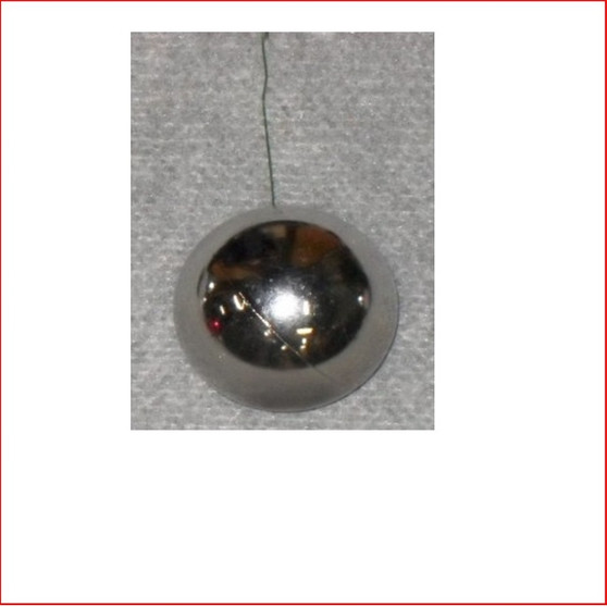 50mm Christmas Bauble - Silver - Wired Glossy