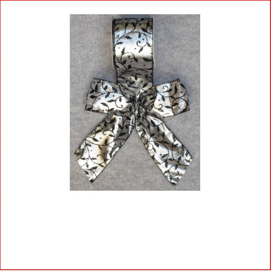 Christmas Ribbon Silver Satin with Black Leaf Design -65mm,  Single bows can be pre made by our christmas designers, available and sold in quantities of 10