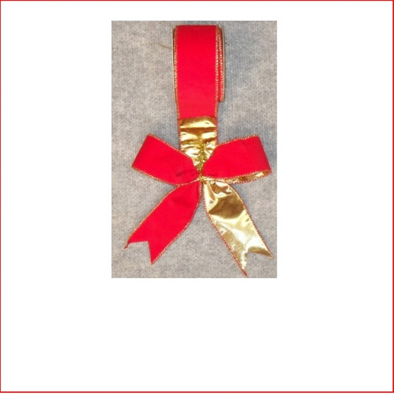 Ribbon - Red Velvet and Gold Lame -60mm, Single bows can be pre made by our christmas designers, available and sold in quantities of 10
