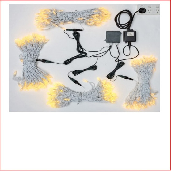 Commercial Led Christmas Lights 416 Warm White Lights Acorn Capped - White Cord a special bulb Acorn shaped are great to decorate outside the House, Business and Commercial Building. Decorating with Commercial Led Christmas Lights 416 Warm White Lights Acorn Capped can be used Indoor/Outdoor, designed mainly for outdoor use as the commercial grade christmas lights are of high quality. The beauty of the LED Lights is that they are energy efficient and very little power is used and you can enjoy a joyful Merry Christmas at low energy cost. Commercial Led Christmas Lights 416 Warm White Lights Acorn Capped - White Cord a total of 124 metres of light to do the largest christmas decorating of all time. The 416 Warm White Lights Acorn Capped - White Cord are very popular for function venues and also weddings and parties.