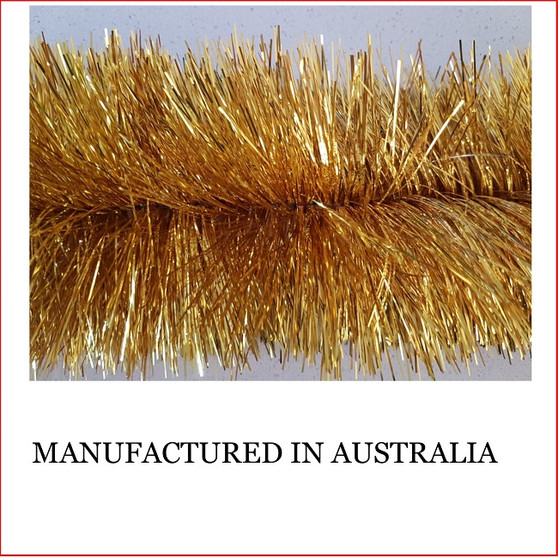 Australian manufactured 4 Ply Tinsel Garland - Gold (100mm x 5.5m). Very thick and lush commercial grade tinsel made right in Australia.   We cannot emphasize how beautiful this tinsel looks. Currently in very high demand for corporate clients from shopping centres, RSL's, car yards and various businesses from fruit shops to offices and building foyers.  Made in Australia from quality raw materials that strengthen the garland tinsel ensures a longer lasting product.