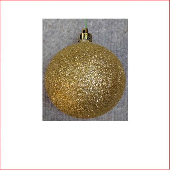 100mm Glittered Christmas Bauble - Gold - Wired