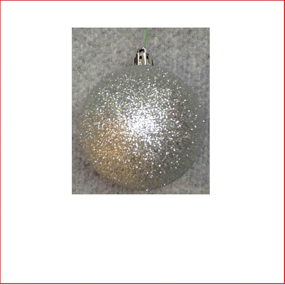 70mm Glittered Christmas Bauble -Silver-Wired
