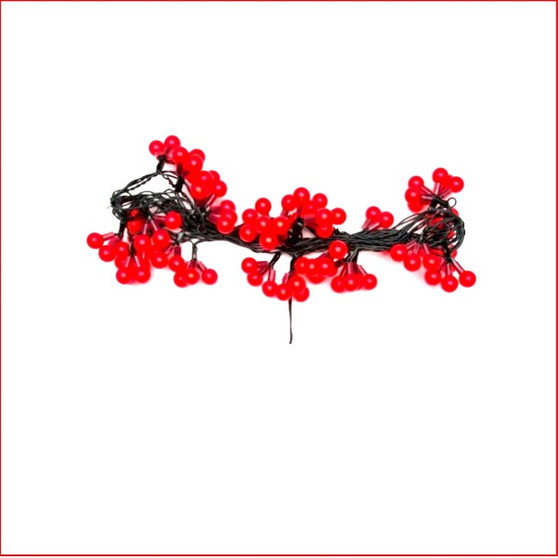 Red Led Cluster Cherry Lights, beautiful led novelty christmas tree string lights, consisting of 90 red cherry led lights, bunched in lots of 3 as a cluster, 30 cluster bunches of 3 cherry led lights. A static function only available. Also Very popular with the kids for there bedroom wall.