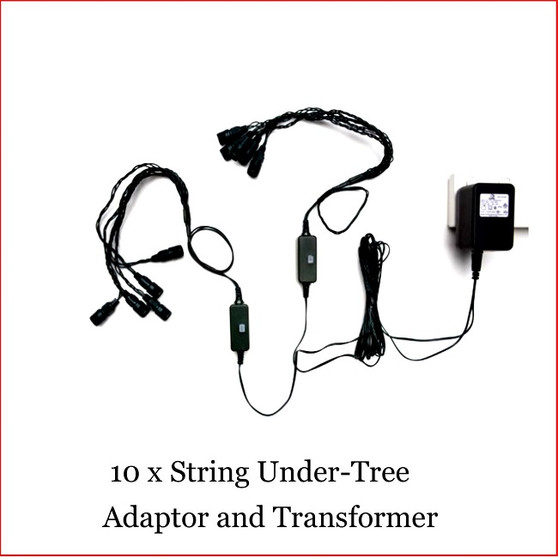 10 x String Under Tree Adaptor and Transformer , Is specially designed from many years experience of Lighting up your Christmas Tree. Very is to just plug up to 10 sets of 100 LED Connectable lights, either Warm White, Super White or Multi colour. Lighting up your Christmas Tree is so easy with the 10 x String Under tree Adaptor and Transformer as it save from tangling of lights. Led connectable Lights sold separately