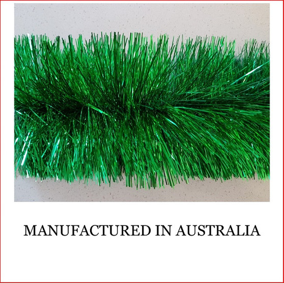 Australian manufactured 4 Ply Tinsel Garland - Green (100mm x 5.5m). Very thick and lush commercial grade tinsel made right in Australia.  We cannot emphasize how beautiful this tinsel looks. Currently in very high demand for corporate clients from shopping centres, RSL's, car yards and various businesses from fruit shops to offices and building foyers.  Made in Australia from quality raw materials that strengthen the garland tinsel which ensures a longer lasting product. Colours Also Available Black, Cerise, Electric Blue, Gold, Green, Lime, Orange, Purple, Red, Royal Blue, Silver, White