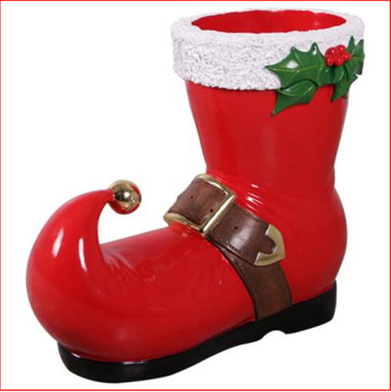 The Poly-resin Christmas Boot is an eye catching addition to any Christmas display and is functional as well as attractive.
