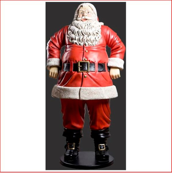 Polyresin Jolly Santa 6ft - Front View Polyresin Jolly Santa 6ft is a beautifully imposing piece that will be the eye catching centre of you Christmas display. Expertly detailed in every way this Santa will draw the attention of all who come to see him.