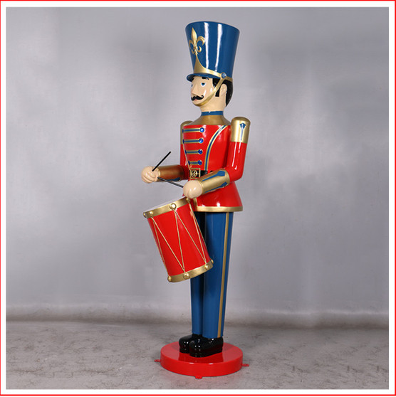 Polyresin Toy Soldier with Drum 6ft The Polyresin Toy Soldier with Drum 6ft will cast you back to your childhood of carefree days and vivid imagination. Such a cute piece representing Christmas parades across the globe. The perfect addition to enhance your Christmas display, Toy soldiers and Nutcrackers are collectibles where you can never have enough.