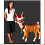 The design Poly-resin Funny Reindeer Standing comes with a Santa's hat as well. A great compliment to any Christmas scene it will definitely add great Christmas cheer any event. Very popular for shopping centres to add a playful twist to their Christmas displays. Large Christmas decor at its best, our range of large Toy Soldiers or Nutcrackers would compliment this item beautifully. The Funny Reindeer Standing is well loved by kids and adults alike as they adore his cute face and Christmas cheer.
