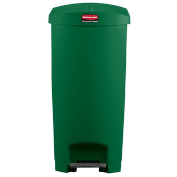 Rubbermaid Slim Jim 90L End Step On Resin Green