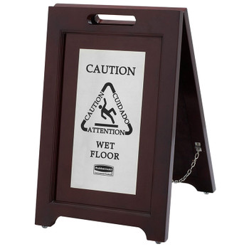 Rubbermaid Wood Safety Sign Brass Plate - Silver
