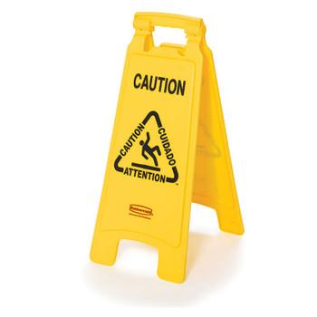 Rubbermaid 2 Sided Floor Sign - Multilingual Caution Wet Floor Symbol