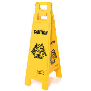 Rubbermaid 4 Sided Floor Sign - Multilingual Caution Symbol