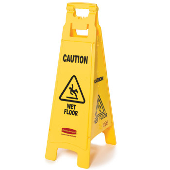 Rubbermaid 4 Sided Floor Sign - Multilingual Caution Wet Floor Symbol
