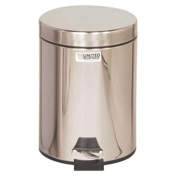 Rubbermaid Small Pedal Bin (With Plastic Liner) 5.6 L - Silver