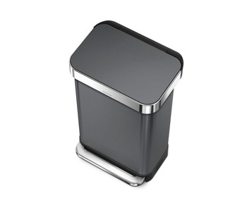 simplehuman Rectangular Pedal Bin With Liner Pocket 45 Litre, Black Stainless Steel