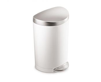 simplehuman Semi-Round Pedal Bin 10 Litre, White Steel W/Bs