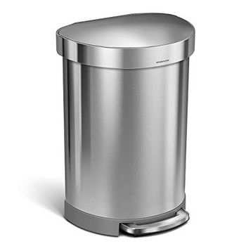 simplehuman Semi-Round Pedal Bin With Liner Rim 60 Litre, Brushed Steel - CW2029