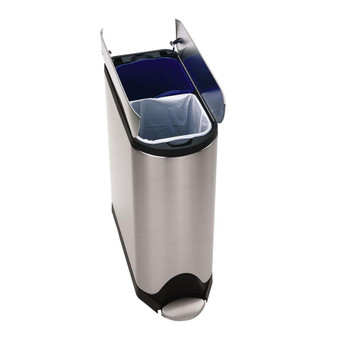 simplehuman Butterfly Recycler Pedal Bin 40 Litre (20/20), Brushed Steel