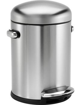 simplehuman Round Retro Pedal Bin 4.5 Litre, Brushed Steel
