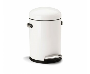 simplehuman Round Retro Pedal Bin 4.5 Litre, White Steel