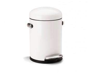 simplehuman Round Retro Pedal Bin 4.5 Litre, White Steel - CW1295CB