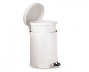 simplehuman Round Pedal Bin 4.5 Litre, White Steel