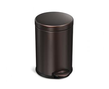 simplehuman Round Pedal Bin 4.5 Litre, Dark Bronze Steel