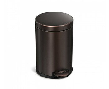 simplehuman Round Pedal Bin 4.5 Litre, Dark Bronze Steel - CW2040