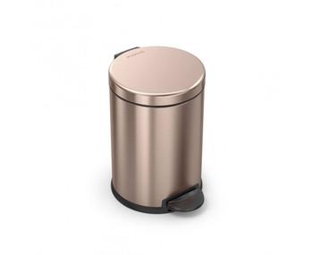 simplehuman Round Pedal Bin 4.5 Litre, Rose Gold Steel