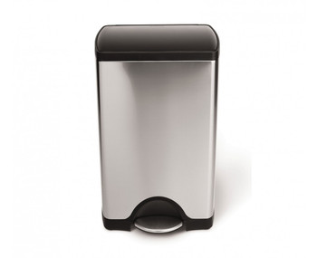simplehuman Rectangular Pedal Bin With Plastic Lid 38 Litre, Brushed Steel