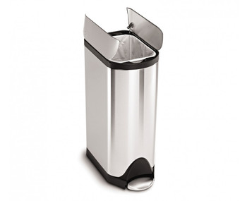 simplehuman Butterfly Pedal Bin With Plastic Lid 30 Litre, Brushed Steel