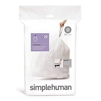 simplehuman Custom Fit Bin Liner Code D, Pack Of 20