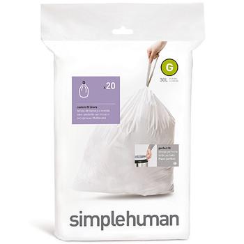 simplehuman Custom Fit Bin Liner Code G, Pack Of 20