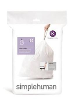 simplehuman Custom Fit Bin Liner Code K, Pack Of 20