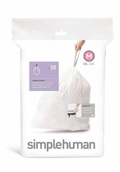 simplehuman Custom Fit Bin Liner Code M, Pack Of 20