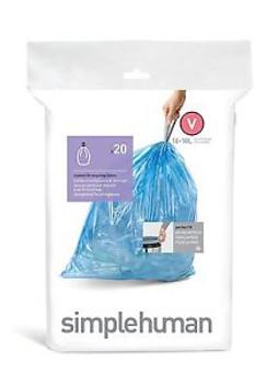 simplehuman Custom Fit Bin Liner Code V, Pack Of 20
