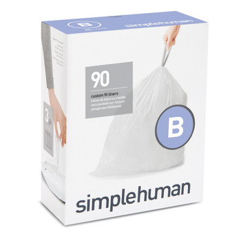simplehuman Custom Fit Bin Liner Refill Pack Code B, 3 X Pack Of 30 (90 Liners)