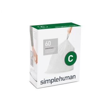 simplehuman Custom Fit Bin Liner Refill Pack Code C, 3 X Pack Of 20 (60 Liners)
