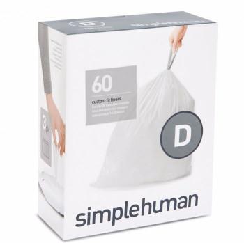 simplehuman Custom Fit Bin Liner Refill Pack Code D, 3 X Pack Of 20 (60 Liners)