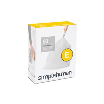 simplehuman Custom Fit Bin Liner Refill Pack Code E, 3 X Pack Of 20 (60 Liners)